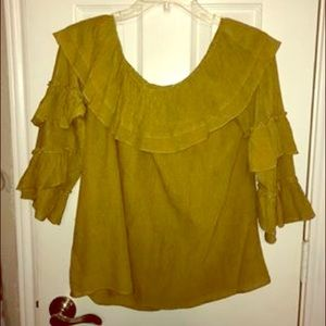 Lime Green Ruffle Sleeved Off the Shoulder Top